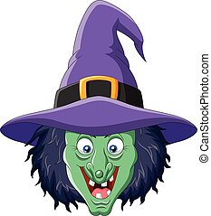 Cartoon witch head isolated on white background - Vector...