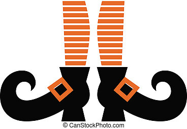 Cartoon Witch legs isolated on white - Orange striped witch...