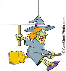 Cartoon witch on a broom holding a