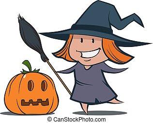 cartoon witch pumpkin