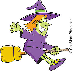 Cartoon witch riding a broom