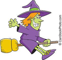 Cartoon witch riding a broom