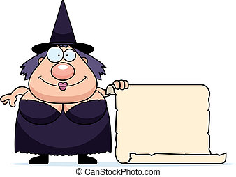 Cartoon Witch Sign