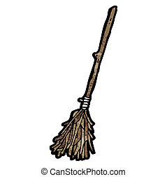 cartoon witch's broom