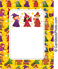cartoon Wizard and Witch card