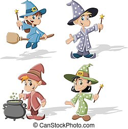 Cartoon wizard boys and witch girls