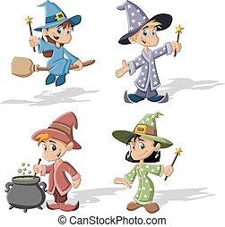 Cartoon wizard boys and witch girls
