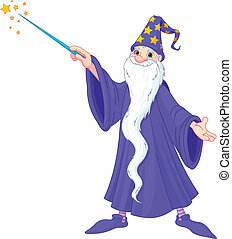 Cartoon wizard casting spell