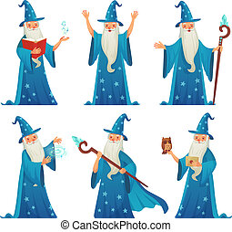Cartoon wizard character. Old witch man in wizards robe,...