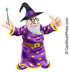 Cartoon Wizard - Illustration of a happy cartoon wizard...