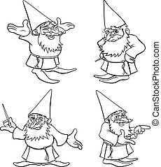 Cartoon Wizard Set - A cute cartoon wizard mascot character...