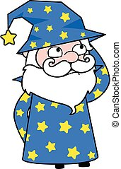 Cartoon Wizard thinking in Confusion