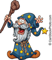 Cartoon wizard. Vector clip art illustration with simple...