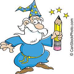 Cartoon Wizard with a Pencil