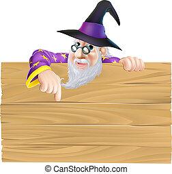 Cartoon Wizard Wooden Sign