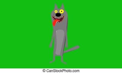 Cartoon wolf animation on green background