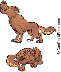 Cartoon wolf - Cartoon brown wolf howling and sleeping. ...