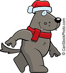 Cartoon Wolf Christmas