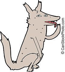 cartoon wolf licking paw