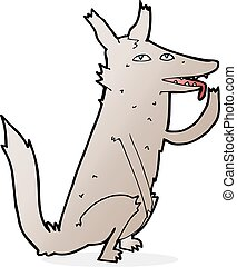 cartoon wolf licking paw