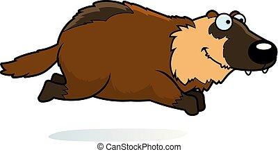 Cartoon Wolverine Running - A cartoon illustration of a...