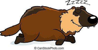 Cartoon Wolverine Sleeping - A cartoon illustration of a...