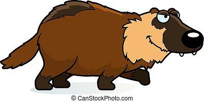 Cartoon Wolverine Stalking - A cartoon illustration of a...