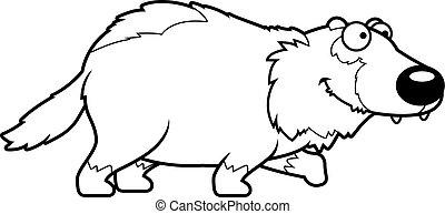 Cartoon Wolverine Walking - A cartoon illustration of a...