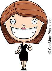 Cartoon Woman Black Dress Thumbs Up