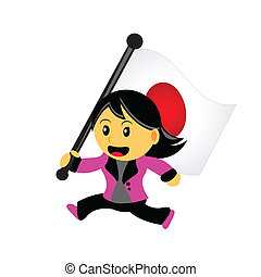 cartoon woman bring flag - illustrasion vector graphic of ...