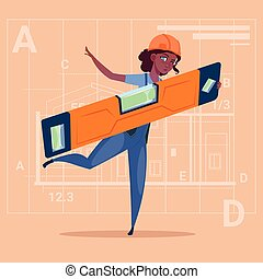 Cartoon Woman Builder Holding Carpenter Level Wearing Uniform And Helmet African American Construction Worker Over Abstract Plan Background