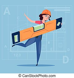 Cartoon Woman Builder Holding Carpenter Level Wearing Uniform And Helmet Construction Worker Over Abstract Plan Background