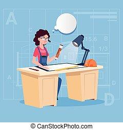 Cartoon Woman Builder Sitting At Desk Working On Blueprint Building Plan Architect Engineer