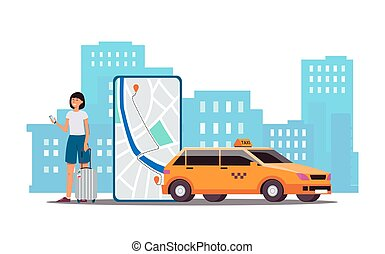 Cartoon woman calling taxi service via phone app - smartphone screen with car route on map and yellow cab on city backdrop. Flat isolated vector illustration.