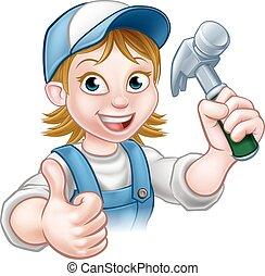 Cartoon Woman Carpenter Holding Hammer - A female carpenter...