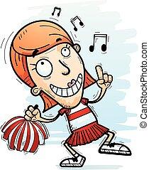 Cartoon Woman Cheerleader Dancing