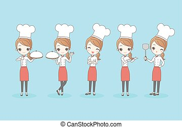 Cartoon woman chef