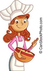 Cartoon woman chef