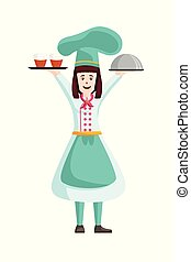 Cartoon woman chef with food - Vector Illustration