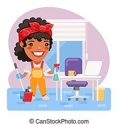 Cartoon Woman Cleaning Lady