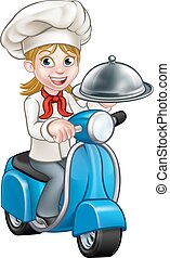 Cartoon Woman Delivery Moped Chef