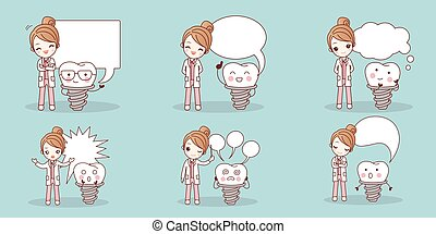 dentist with implant tooth - cartoon woman dentist with...