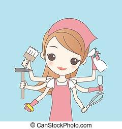 cartoon woman do housework