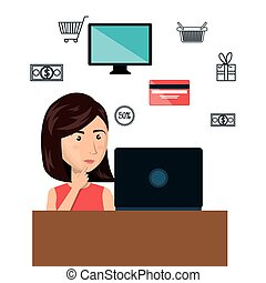 cartoon woman e-commerce laptop desk isolated design