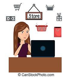cartoon woman e-commerce laptop desk isolated design