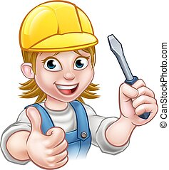 Cartoon Woman Electrician Holding Screwdriver