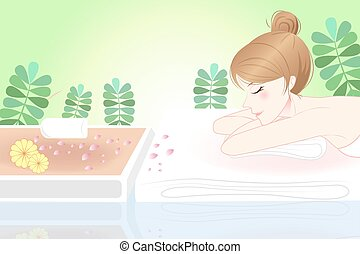 cartoon woman enjoy do spa