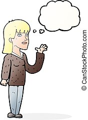 cartoon woman explaining with thought bubble