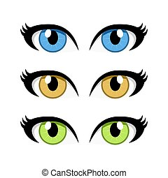 cartoon woman eyes set isolated on white background
