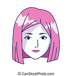 cartoon woman face icon, colorful design